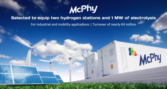 McPhy to equip two hydrogen stations and 1MW electrolysis