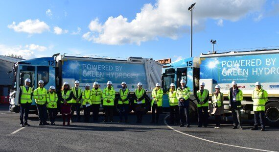 Cheshire East Council welcomes the UK's 'carbon battle bus' to hydrogen refuelling compound